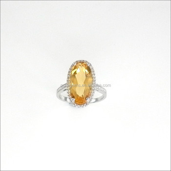 5CT Genuine Citrine Ring Bangkok Jewelry Silver 925