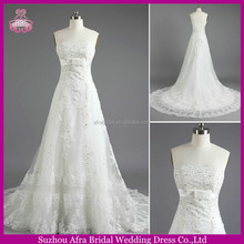 SW707 fitted bodice strapless A line lace appliqued cheap japanese style wedding dresses