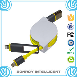 made in china 2 in 1 noodle flat factory price 2.1A high speed sleeved usb cable