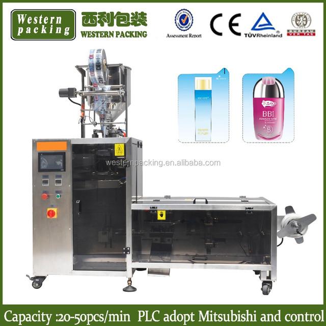 irregular shape lotion packing machine, cosmetic lotion sachet packaging machine, irregular shape cream pouch packing machine