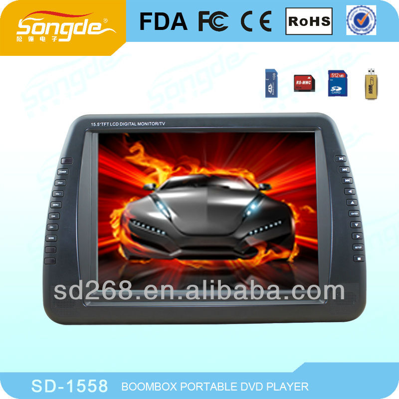 15 inch good quality portable dvd player for home and travel