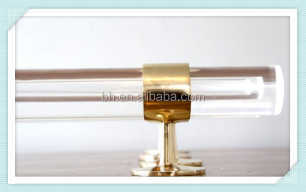 Decorative Lucite and Polished Brass Drapery Curtain Rod Acrylic Rod