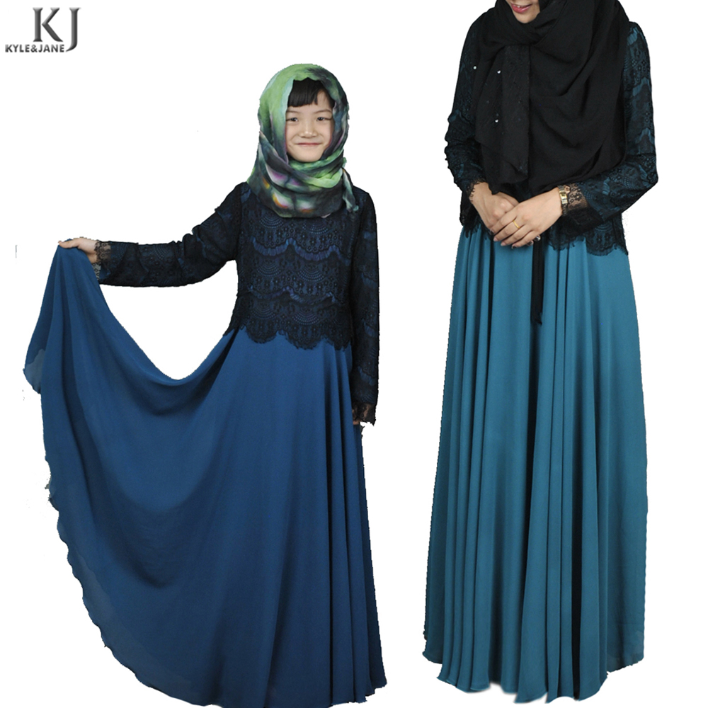 Latest parent-child clothing wear abaya muslim dress chiffon two layers non-transparent children islamic kids abaya for girl