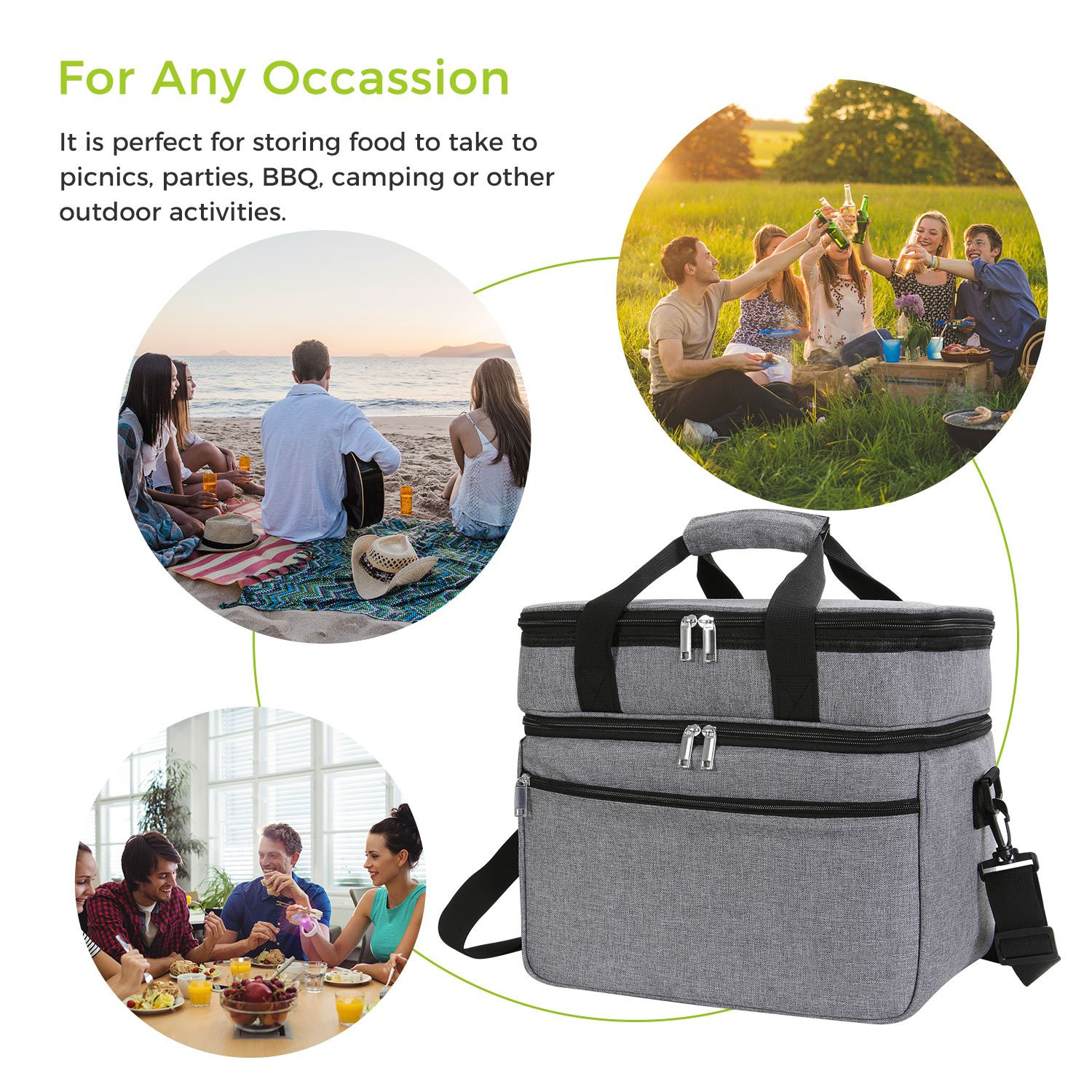 New Fashion Food Delivery Bag Felt Insulated  Cooler Lunch Bag with shoulder straps