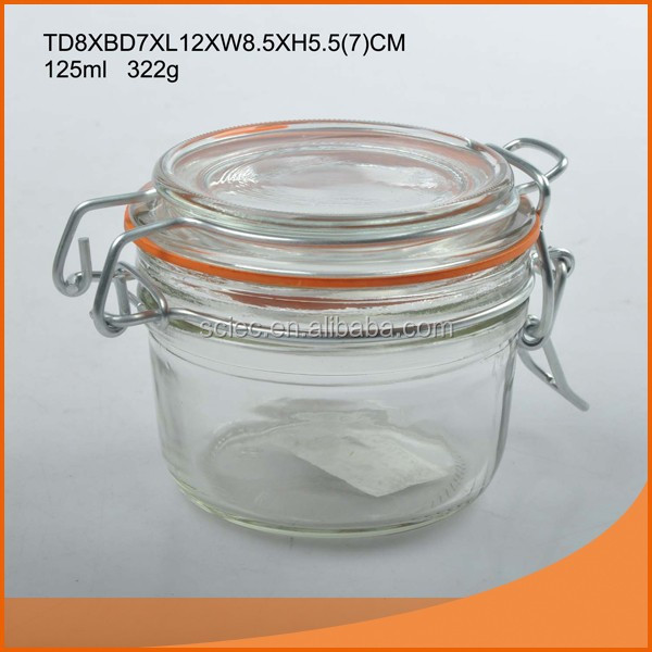 Leak proof glass jar/bottle/canister/candy 125ml/200ml/350ml with clip top for home and food factory