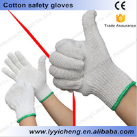 cheap white cotton hand knitted labor gloves