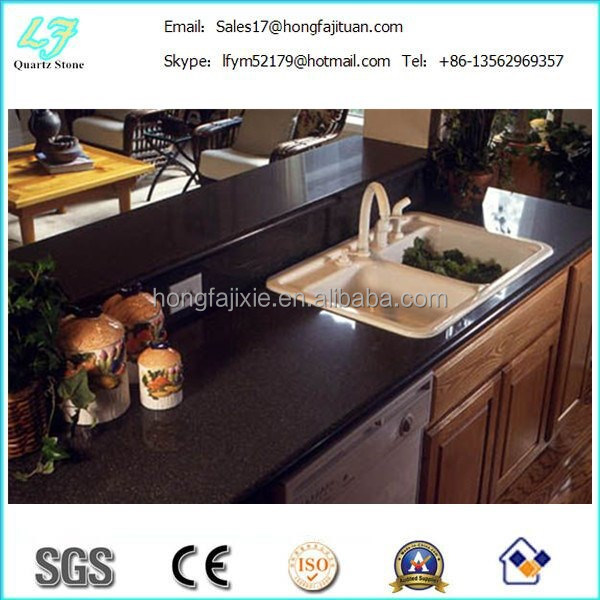 Black galaxy sparkle polishing quartz stone countertop/ quartz stone price customized size