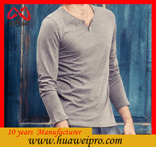 hemp and cotton polo neck long sleeve t shirts man cheap wholesale t shirt with screen printing in mercerized cotton