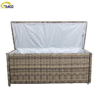 Patio furniture cushion box patio rattan outdoor sofa with cushion box patio furniture rattan cushion box