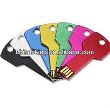 Silver metal key shape usb with printing logo
