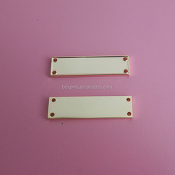 customized gold blank metal plate with 4 holes