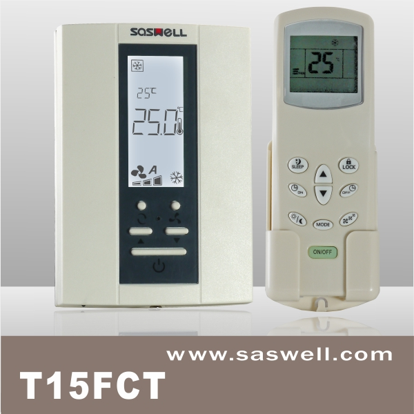 vertical digital FCU room thermosat with digital remote controller