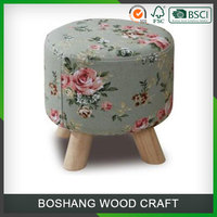 Custom 3 legs Colorful Cushion Wooden Stool