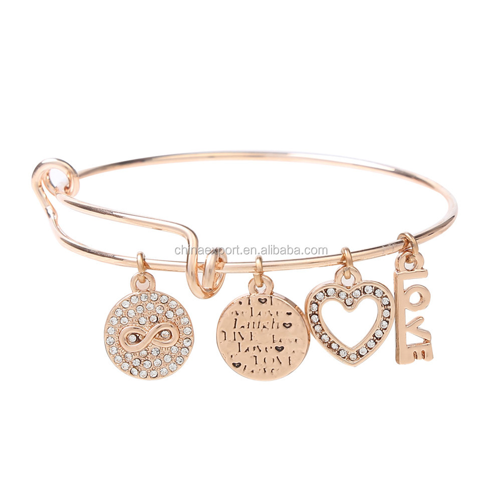 China Factory Rose Gold Expandable Wire Bracelet