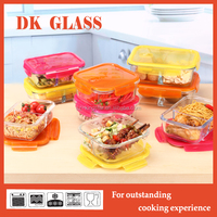 Ovenproof high borosilicate glass food storage container with compartment/ Microwave safe office lunch box with airtight lid