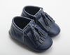 Fashion fringed leather baby shoes new design wholesale soft sole baby leather shoes