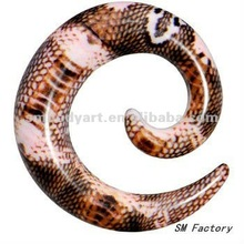 blushing snake skin print acrylic ear spiral taper jewelry body piercing-SMEP116-BH