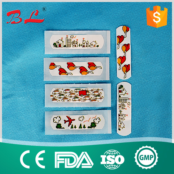 CE ISO elastic waterproof custom printed colored bandage promotional cartoon kids band aid medical adhesive wound plaster