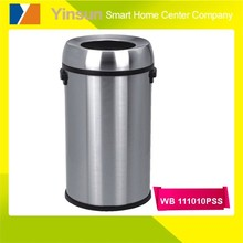 top opened stainless steel round soft closing trash can