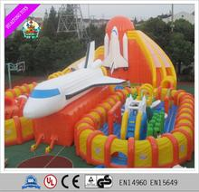 Outdoor portable interesting inflatable fun city for kids inflatable huge plane for sale