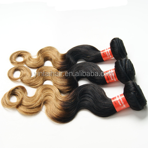 1 Bundle Indian 100% Virgin Human hair body weaving Remy Weave Weft Extension weaving/ hair bulk ombre hair weft brown to blond