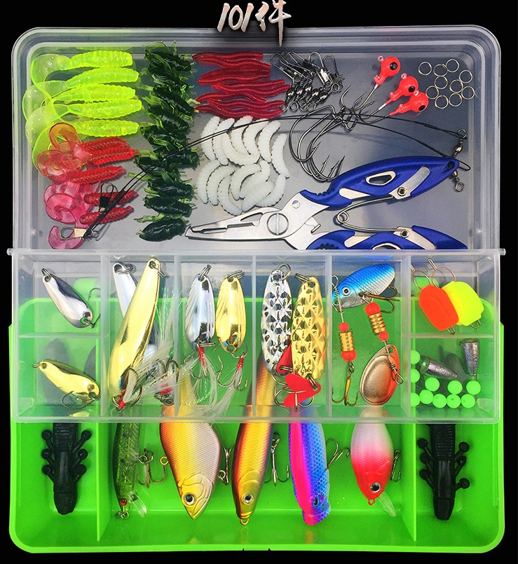 101 pcs <strong>fishing</strong> lures set crank popper minnow pliers set with soft bait hard <strong>fishing</strong> lure kit
