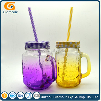 470ml 16oz colorful glass mason jar with handle