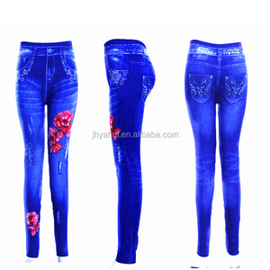 Womens Print Flower Denim Jean Leggings
