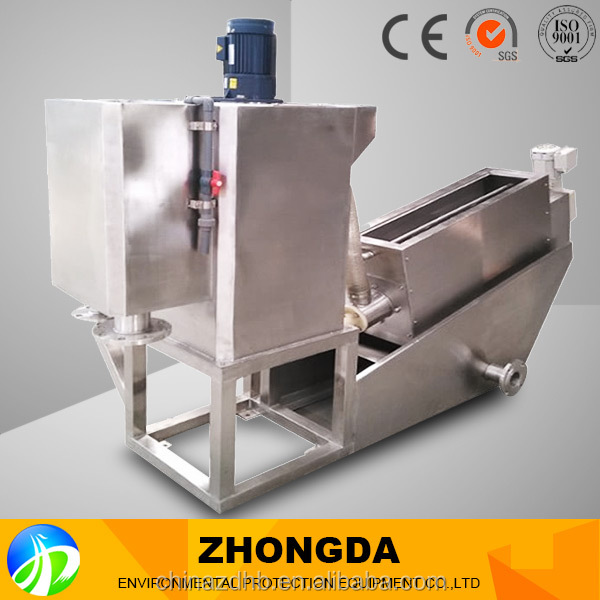 Sludge dewatering water treatment machine for tannery pollution