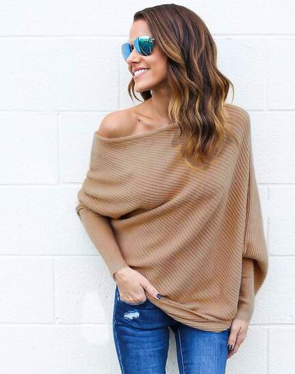 Women Off-Shoulder Shirts Amazon Top Seller Bulk Sweater Ladies Tops