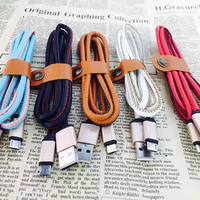 Super Strong PU Leather Metal Plug Micro USB Cable for Samsung Andriod Smart Phone