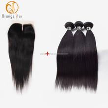 Alibaba virgin real mink brazilian hair, unprocessed wholesale straight human hair bundles with closure