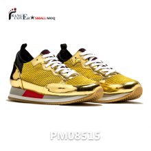 China Suppliers Trendy Luxury Shoes Outlet Online Gold Sneakers Mens