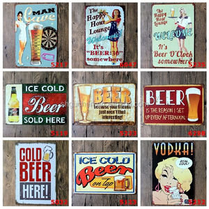 Wholesale Vintage Ice cold Beer Man Cave Tin Sign Retro Metal Painting Poster Home Pub Bar Cafe Restaurant Decor