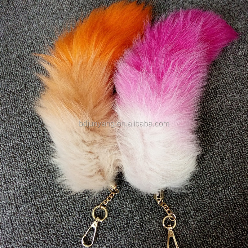 Cheap dyed fur keyrings fox tails wholesale