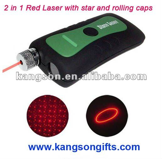 2 in 1 Red Laser Pointer with Star and Rolling Circle