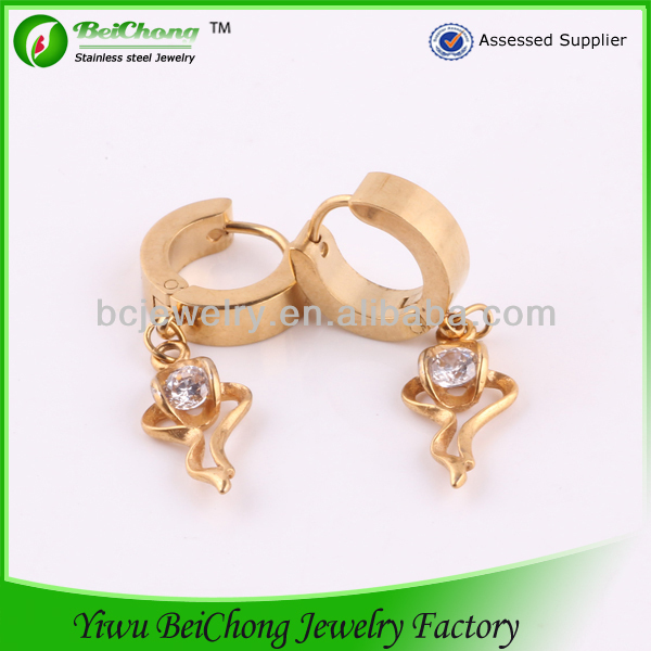 Alibaba China Supplier Gold Plated Zircon Earrings Stainless Steel Jewelry Casting