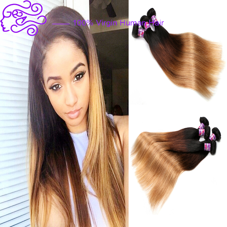Large Stock Straight Hair High Quality Three Tone Ombre Brazilian Hair Weave Wet and Wavy Ombre Braiding Hair Extension
