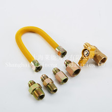 CSA YELLOW COATED GAS CONNECTOR DN12 SS 304 FLEXIBLE GAS HOSE