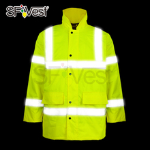 High visibility security roadway traffic warning winter jacket reflective safety clothing