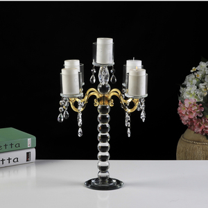 5 arm hurricane Europe popular tall party birthday crystal candle holder for wedding candelabra
