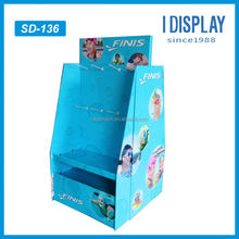 multi-function cardboard display pedestals with hooks for swimming products
