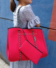 Perforated Neoprene Tote Bag With Purse