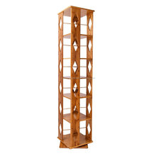 Bamboo 6 Tiers Revolving Bookcase with 6 Adjustable Multipurpose Book Shelves