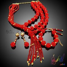 Propitious red bridal beads jewelry set wedding coral beads jewelry set Elizabeth costume jewelry set