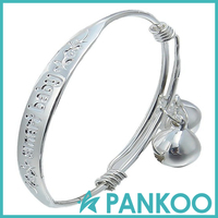 Sterling silver two bells adjustable SMART BABY bangle for baby shower