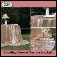 100% polyester embroidery metallic fancy wedding sequin table cloths round