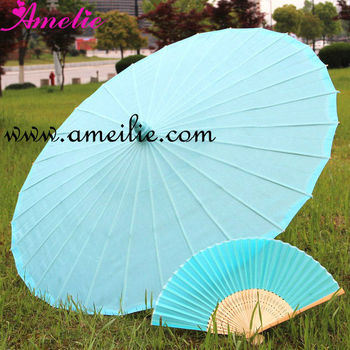 Sky Blue Wedding Theme with Umbrella Fan