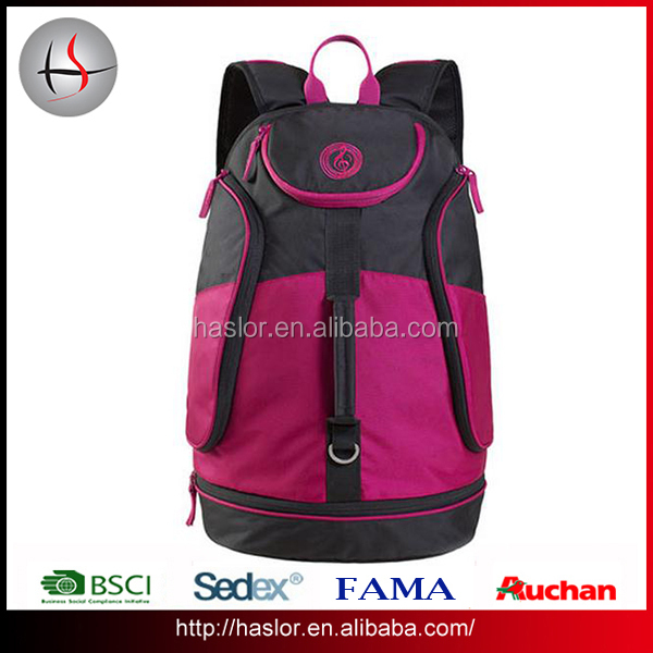 Durable material customize basketball sport laptop backpack designed with shoe compartment