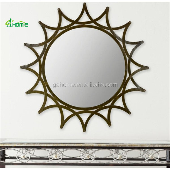 carved luxury sun shape home decorative wall iron mirrors
